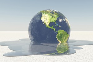 Earth melting into water graphic