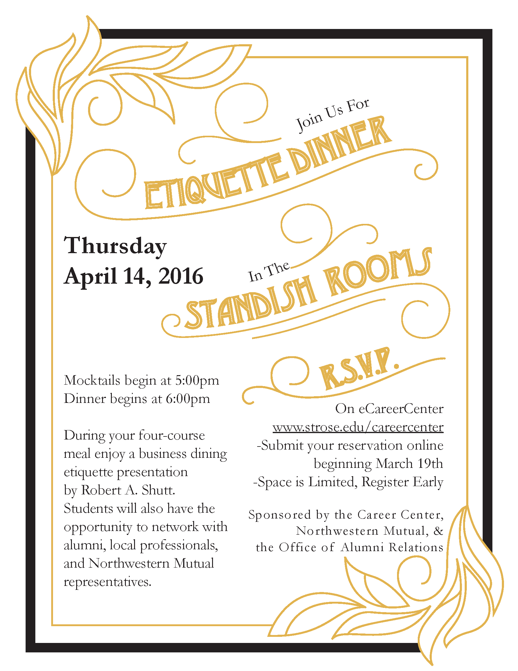 Etiquette Dinner Invite The College Of Saint Rose