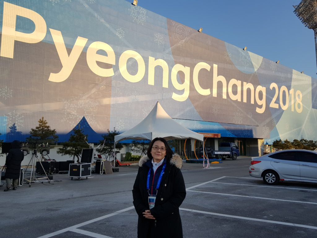 Photo of Saint Rose Professor Jaeyeon Hwang is the Park Communication Center (PCC) Manager for the 2018 Winter Olympics.