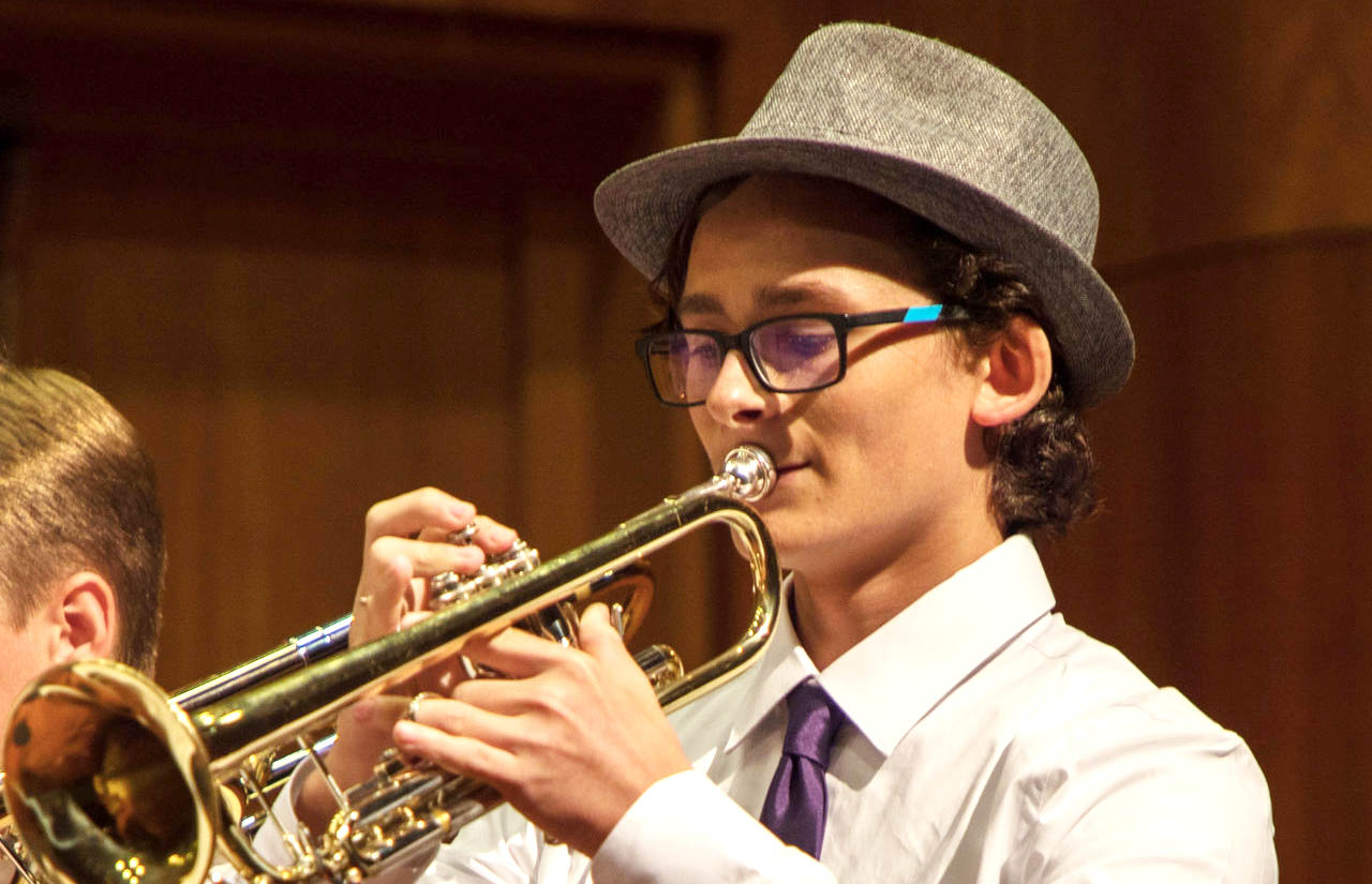 Student playing the trumpet in the Pre-College Experience