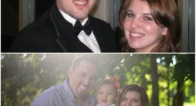 Collage of Caitlyn Clark and Greg Clark when they were dating and then now, as a couple with daughter, Penelope.