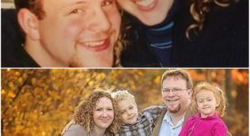 Bryan Cady '98, G'03 and Mary Cady '02 when they were dating and then again today with their children, Connor, 9, and Mackenzie, 7 in a fall scene.