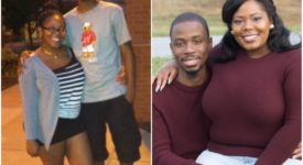 Collage of two photos: Dranee Jones and Steven McKenzie posting in their engagement photo outside and when they were students at Saint Rose.