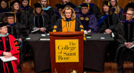 Saint Rose President Carolyn J. Stefanco speaking at the Honors Convocation on March 24, 2018.