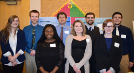 Pictured from left to right: Lauren Zakrzewski, Kevin Curtis, Comfort Obeng, Dr. Patrick Jokiel, assistant professor of Chemistry at Saint Rose, Samantha Mumford, Dr. Brad Bauer, associate professor of Chemistry, Amie Burnell, and David Judd.