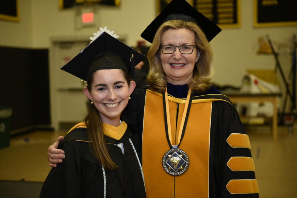 Saint Rose President Carolyn J. Stefanco with Megan Vanacore '18.