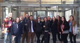 Josh Terry and friends in front of The New York Times