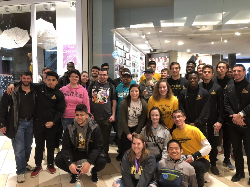 Saint Rose Best Buddies members at the mall.