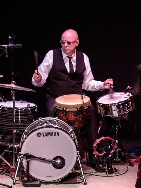 John Wittmann playing drums.