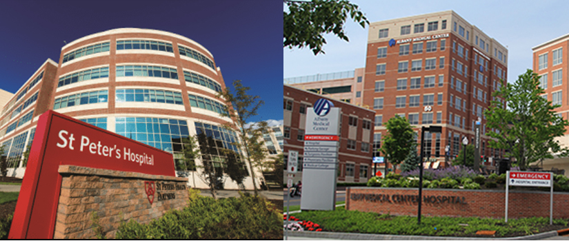 exteriors of st. Peter's hospital and albany medical center