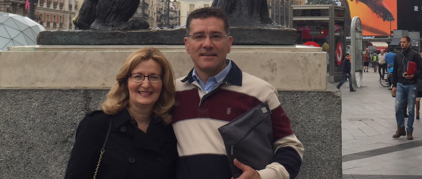 Saint Rose President Carolyn J. Stefanco with alum Jesus Valbuena in Spain