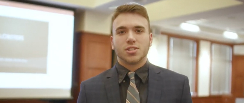 Male Saint Rose student at investment competition
