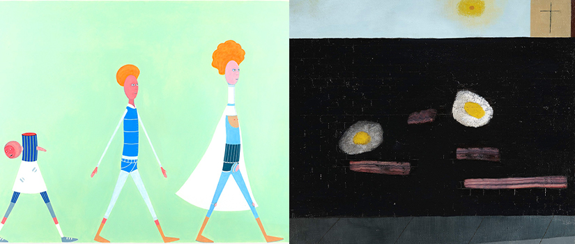 Artwork from two exhibitions curated by Saint Rose alums