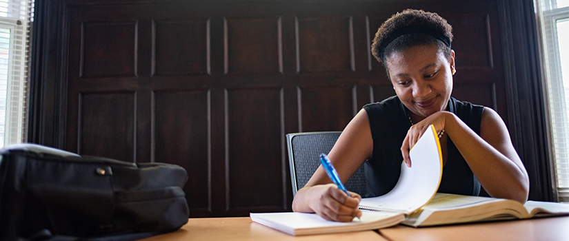 Saint Rose studying in the Huether School of Business